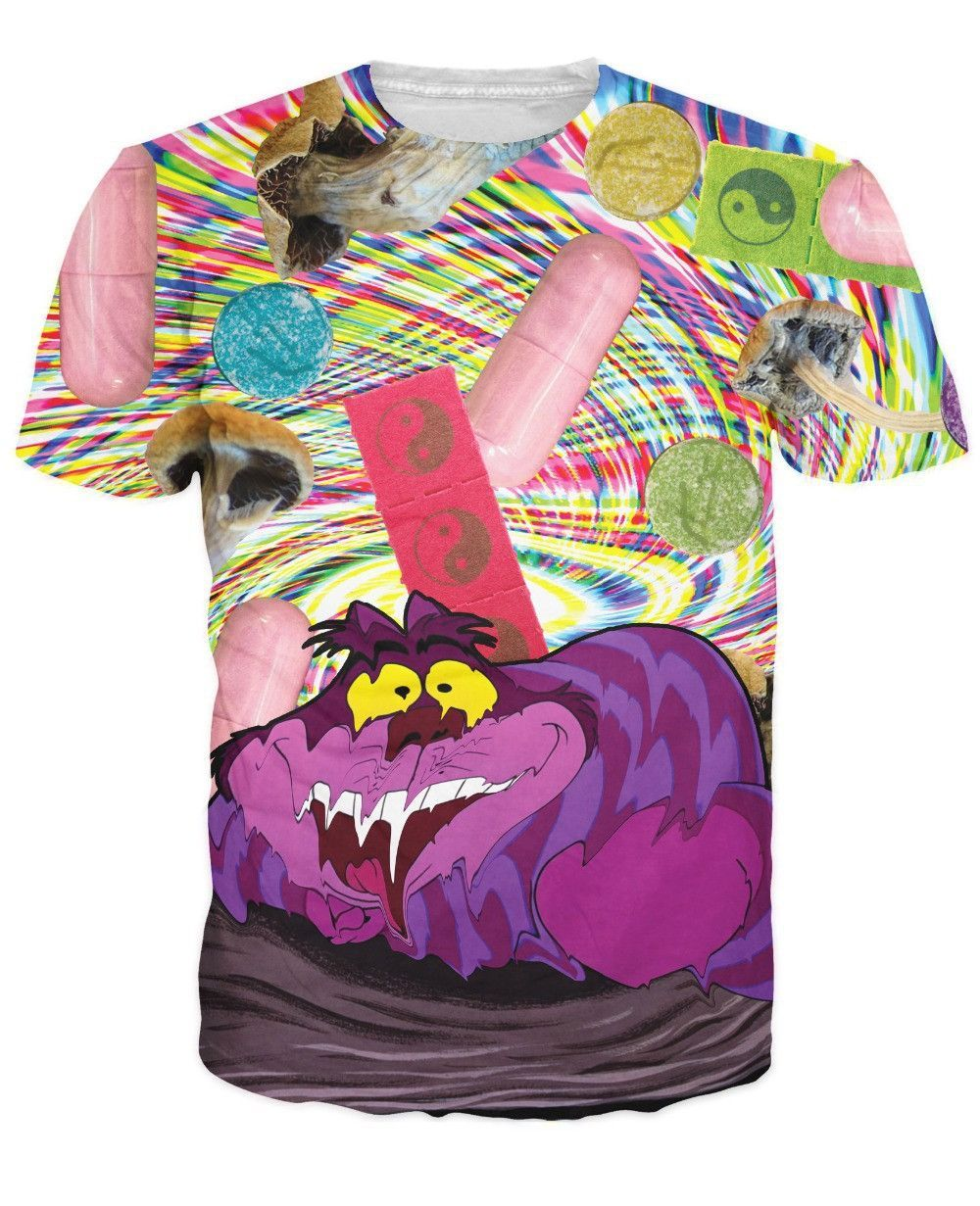 Psychedelic Cheshire Cat T Shirt Trippy Psychedelic Drugs in