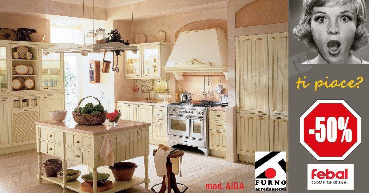 Febal Casa - Cucina Aida, laccata panna patinata. Promozione estate ...