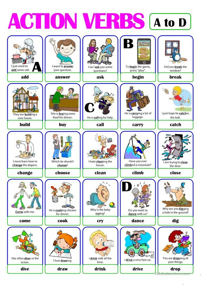 PICTIONARY - ACTION VERB SET (1) - from A to D English Pinterest
