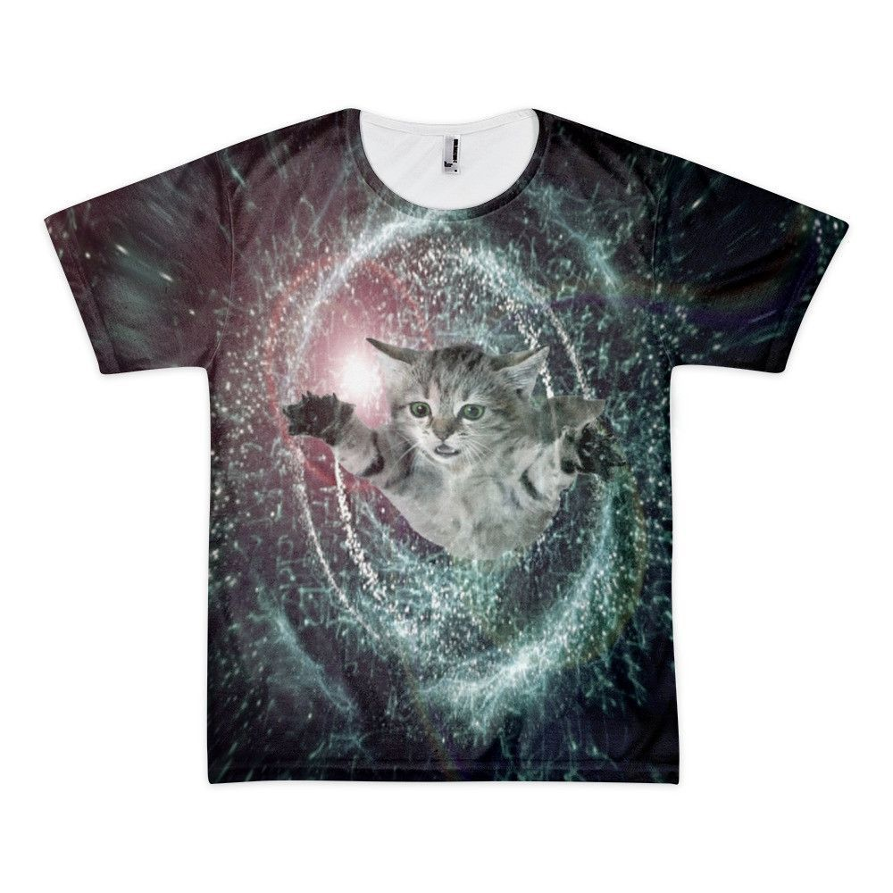 Time Traveling Black Hole Galaxy Cat T Shirt