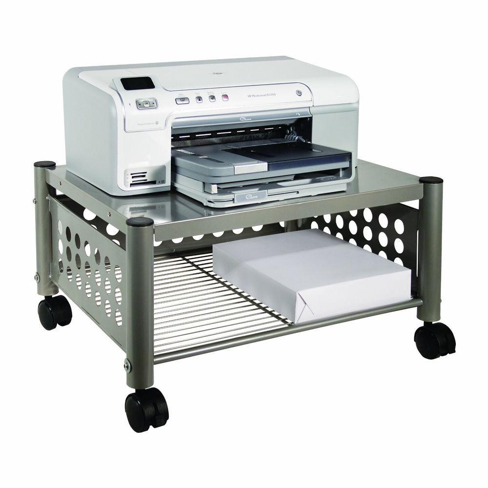 Underdesk Cart Scanner Computer Stand Desk Laser Printer Table Mobile Wheels Printer Stand Printer Stands Mobile Home Decorating