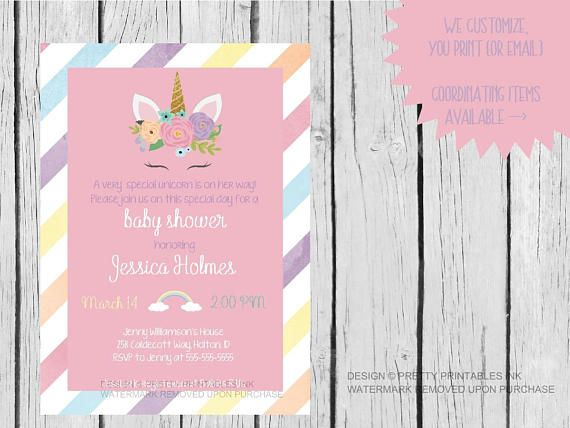 Unicorn Baby Shower Invitation Bundle Girl