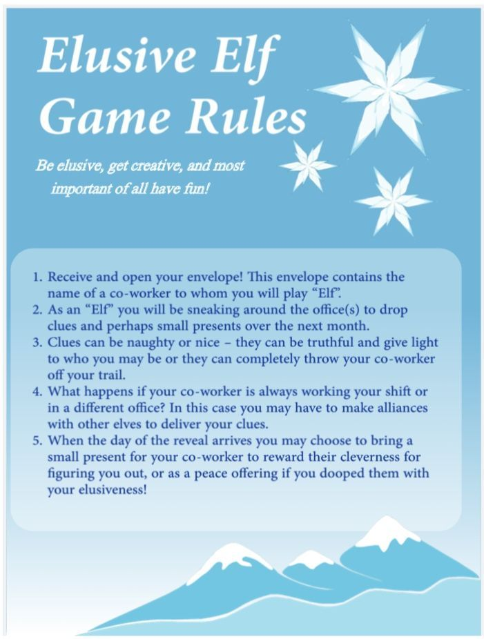 A secret-Santa type of holiday game with small prizes and clues prior to the big reveal! Our office started playing this a few years ago and decided to make some official rules. #secretsantaideasforwork A secret-Santa type of holiday game with small prizes and clues prior to the big reveal! Our office started playing this a few years ago and decided to make some official rules. #secretsantaideas