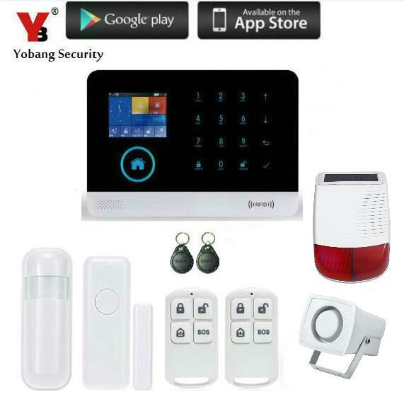 Yobang Security Wifi App Smart Burglar Gsm Alarm System With Pir Detector Outdoor Red Strobe Siren Alert Gsm Alarm System Security Alarm Alarm Systems For Home