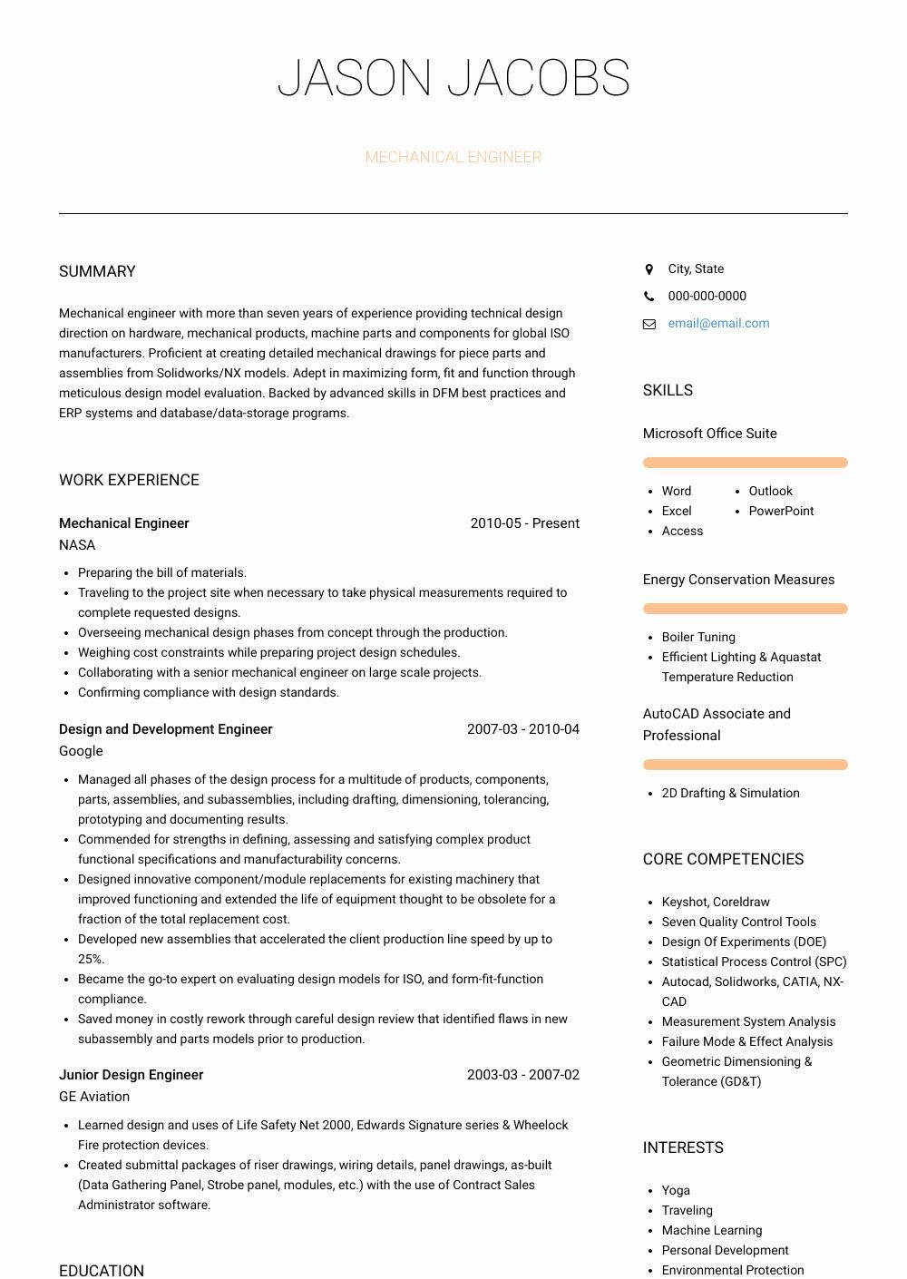 Sample Resume For Layout Design Engineer