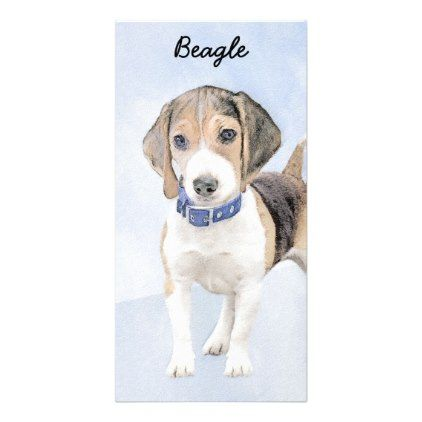 Beagle Painting Cute Original Art Card Zazzle Com Beagle