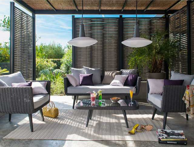 canap acadia cordes grises avec coussins canap de. Black Bedroom Furniture Sets. Home Design Ideas