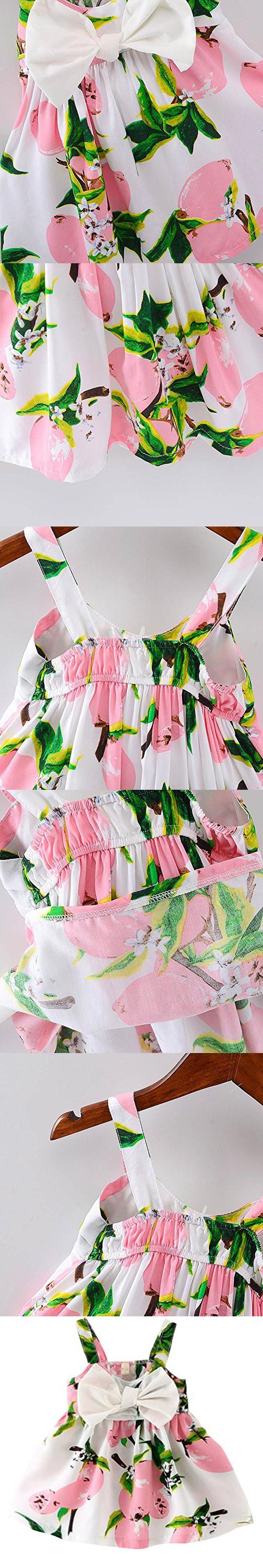 Rjxdlt baby girls sling bowknot lemon print skirt dress months