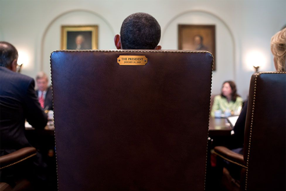 A View From Behind The President S Chair During A Cabinet Meeting