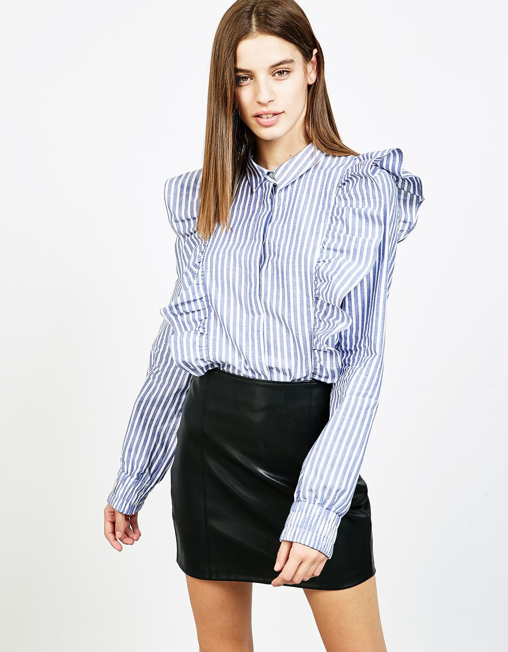 Stripes and frill shirt - null - Bershka Spain