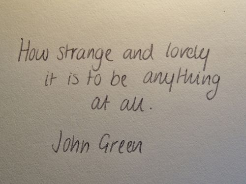 How Strange And Lovely It Is To Be Anything At All John Green