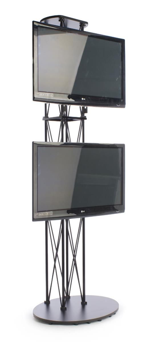 10 Portable Tv Stand W 2 Mounts For Monitors Up To 60 Truss Like Black Portable Tv Stand Tv Stand Tall Tv Stands