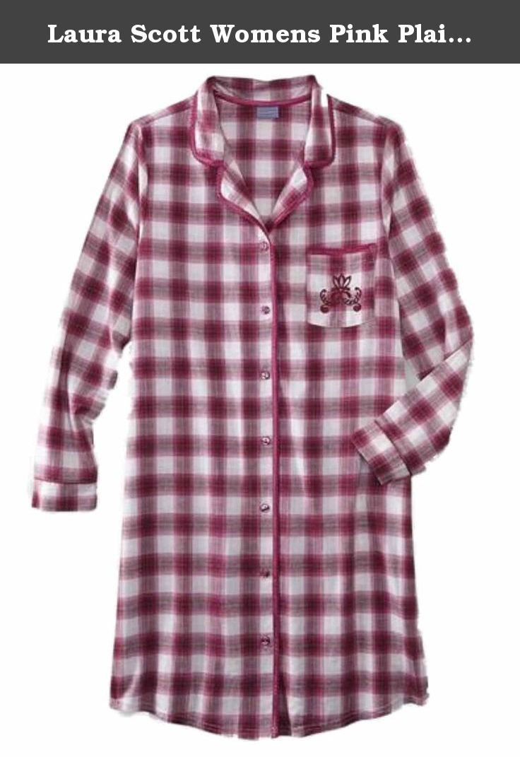 Laura Scott Womens Pink Plaid Flannel Nightgown Sleep Shirt Night Gown.  This pretty pink plaid