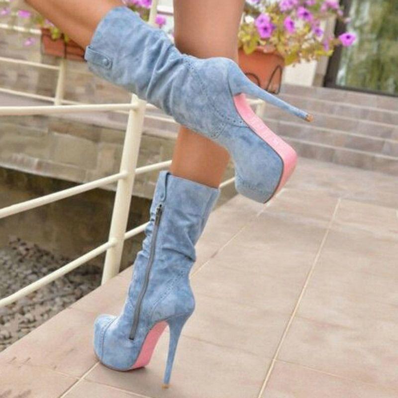 Shoespie Blue Stiletto Heel Side Zipper Ankle Boots