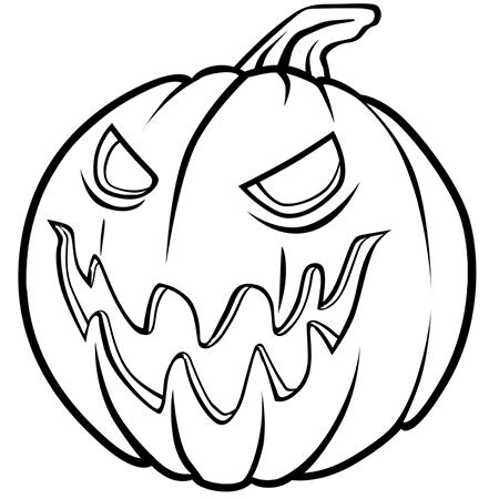 Dessin Méchante Citrouille D Halloween A Colorier October