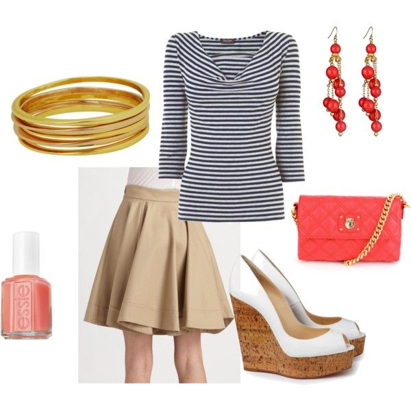 """I think I have pretty much killed it on the coral and blue front. but polyvore is so much safer than """"window shopping."""""""