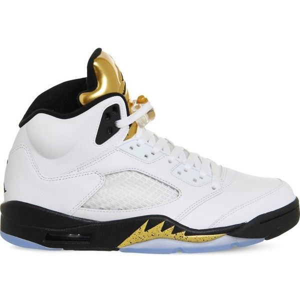sports shoes 034a6 817c6 NIKE Air Jordan 5 Retro leather trainers ( 210) ❤ liked on Polyvore  featuring shoes, sneakers, rubber sole shoes, lacing sneakers, leather shoes,  nike ...
