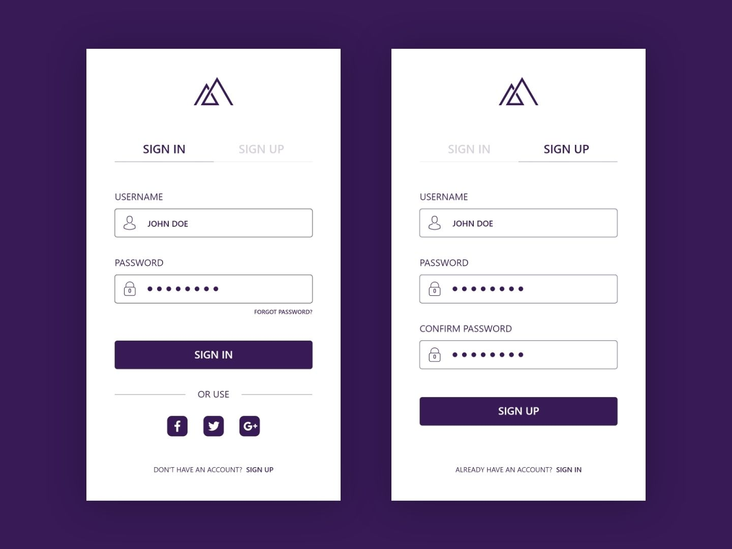 Sign In Sign Up Screen With Images Login Page Design App