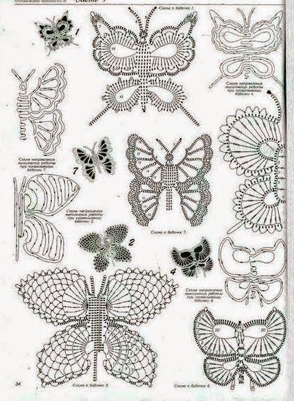 10 mariposas crochet - diagramas y paso a paso   Crochet y Dos ...