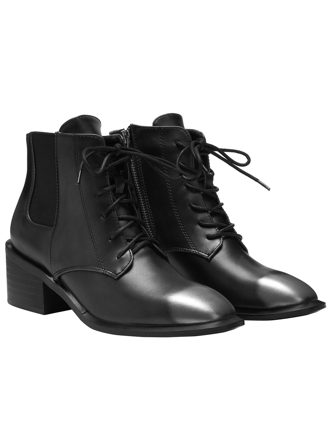 dc1ff42f47263 Grey Pointed Toe Lace Up Ankle Boots -SheIn(Sheinside) | Gothic ...