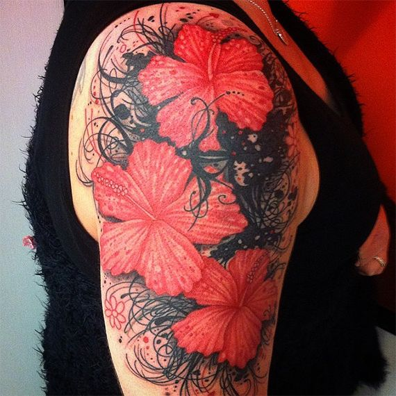 f79d2eb2479c2 33 Hibiscus Flower Tattoos With Unique and Colorful Meanings - Tattoos Win
