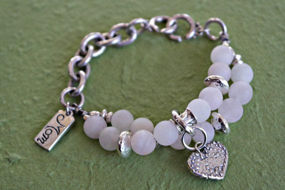 Custom designed bracelet Rose quartz light pink by dooglelinhk