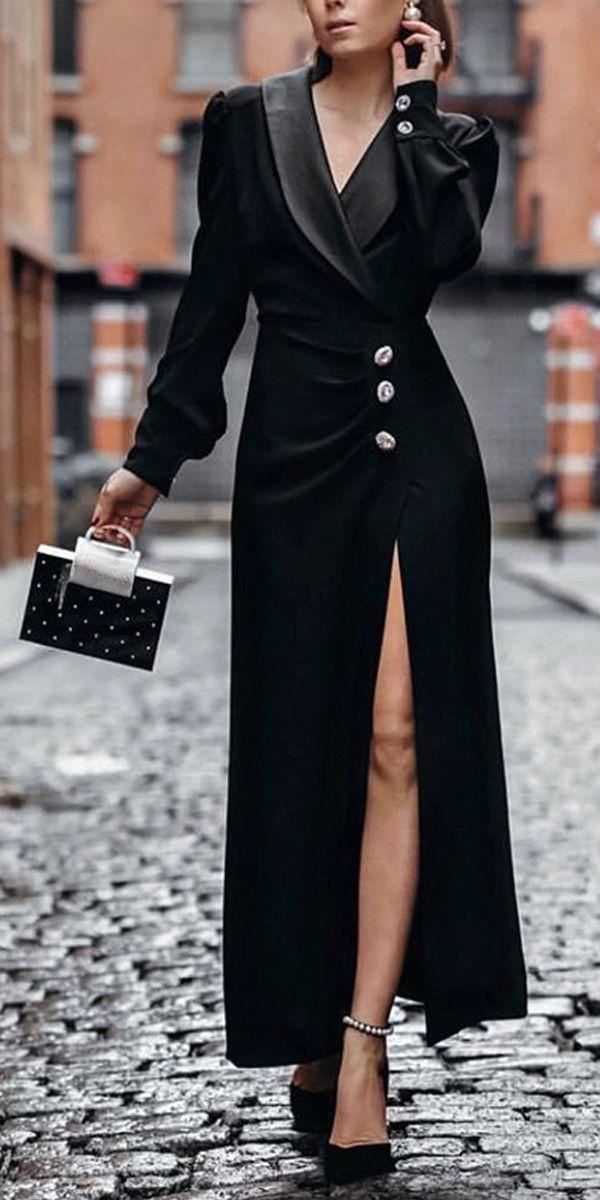 Womens Elegant Single-breasted Slit Pure Color Long Sleeve Dress