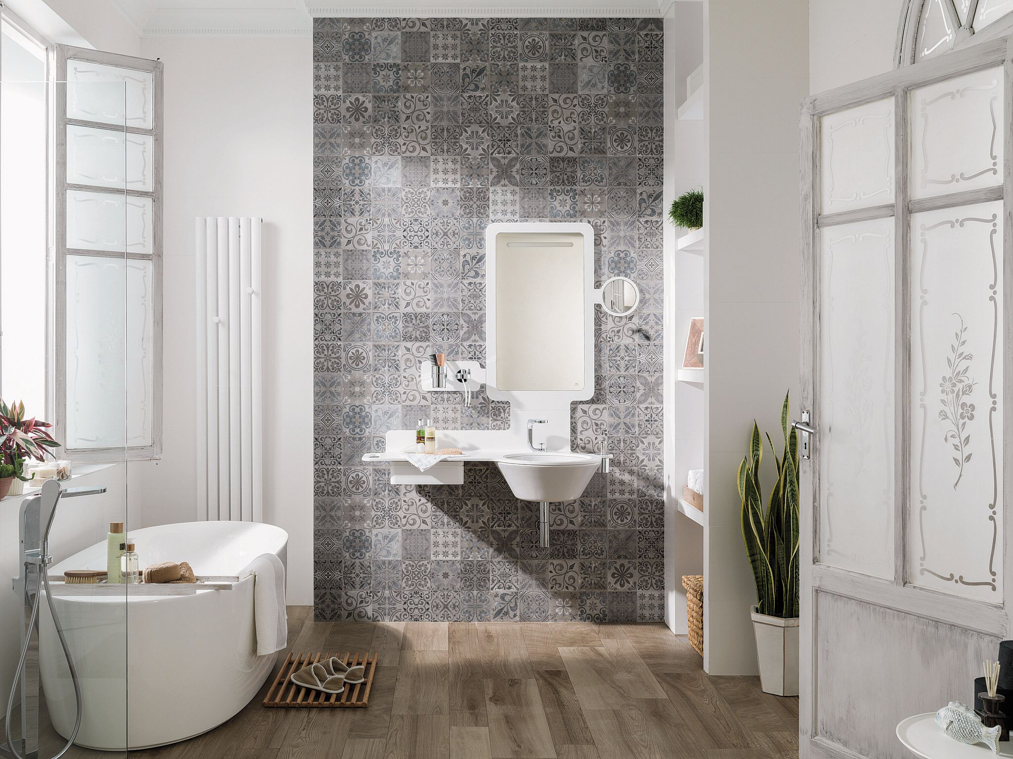 Floors only | Powder Room | Pinterest | Feature tiles, Bath and ...