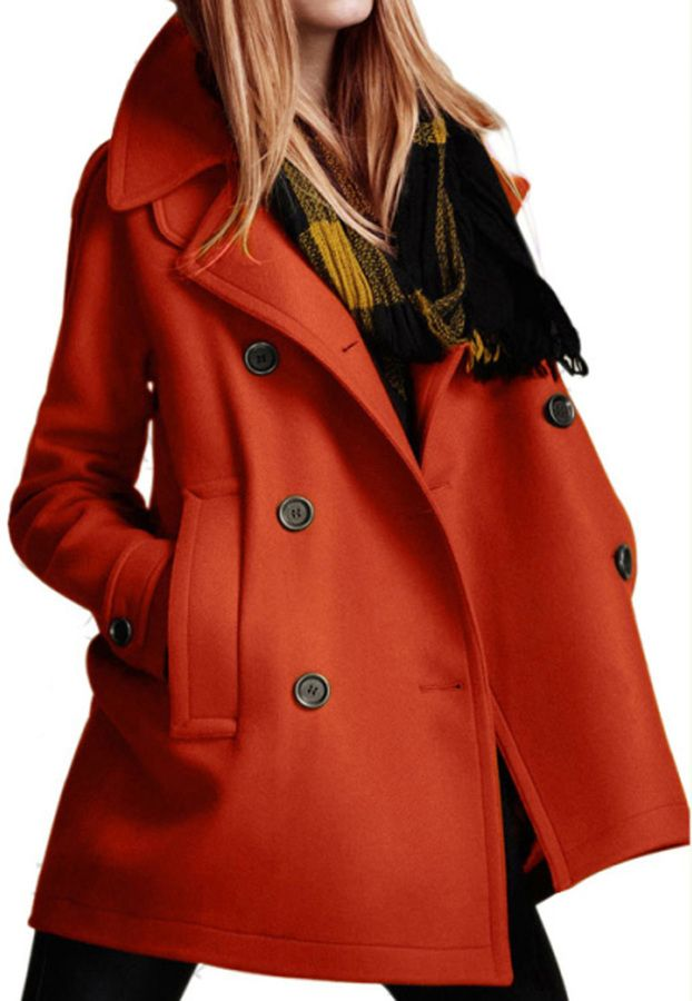 Orange Double Breasted Woolen Coat