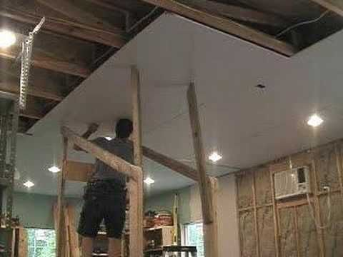 Hanging Drywall On 10 Ceiling W One Man Youtube Hanging Drywall Drywall Drywall Lift