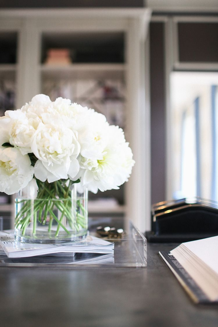 White peonies flowers pinterest white peonies peony and trtend alert fresh flowers and for home office decor interior design home office white peony flowers in vase office desk lucite acrylic tray reviewsmspy