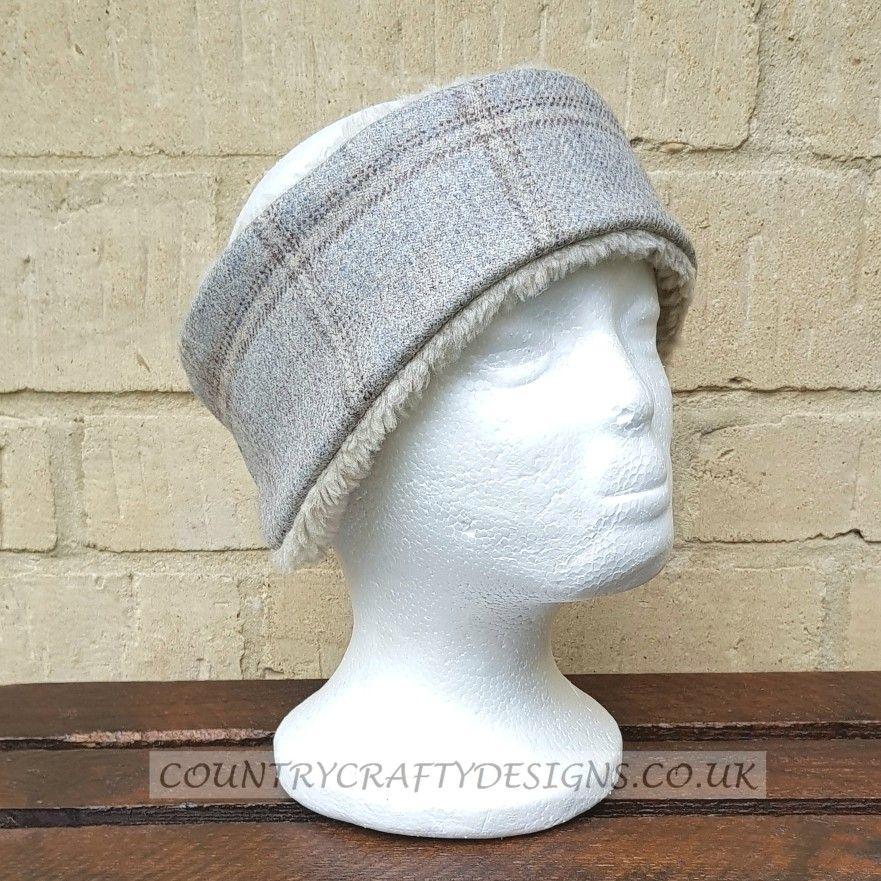 HARRIS TWEED Riding Hat Ear Muffs  warmers Autumn Tweed Teal Fleece Back 0e7ef68144e