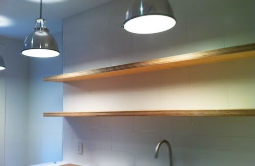 Thick Floating Plywood Shelves