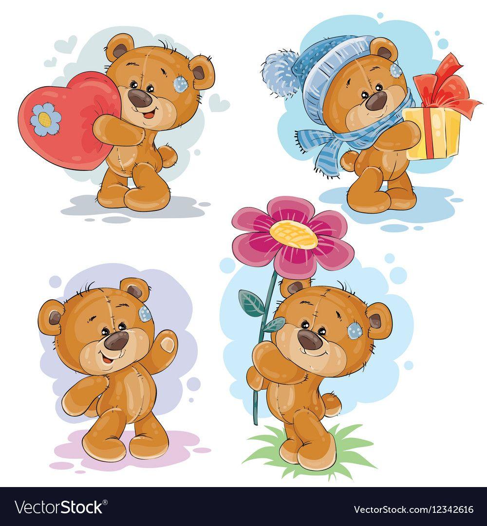 Set clip art of teddy bears Royalty Free Vector Image
