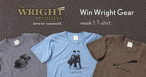 Win Wright Gear<br>T-shirt drawing http://thewrightbrothersstore.com/giveaways/t-shirt/?lucky=18 via @TWBStore Ends 8/26