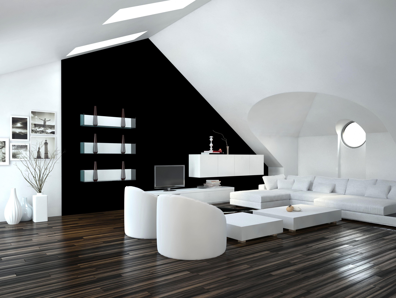 Brillant Wohnzimmer Modern Schwarz Weiß