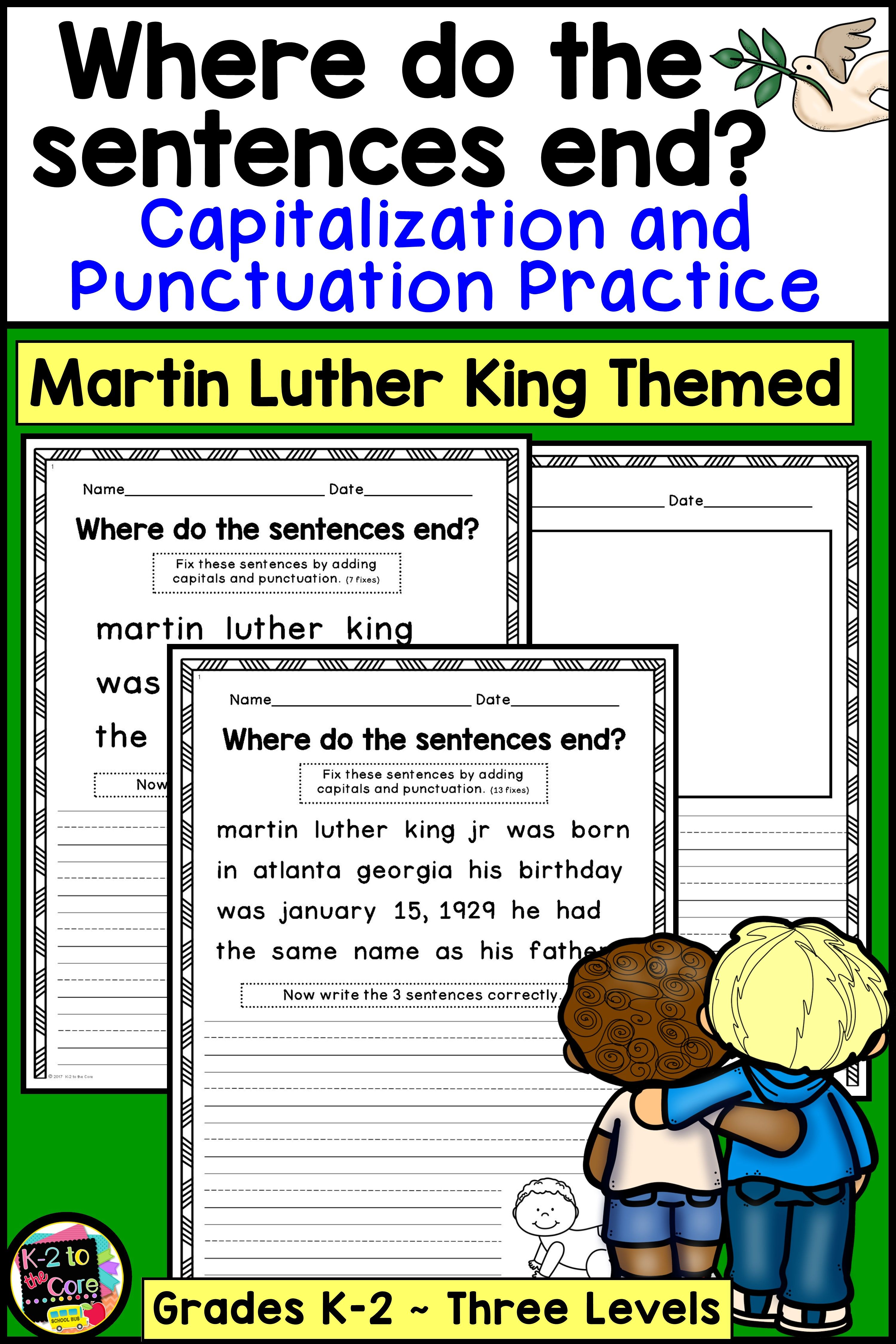 Martin Luther King Writing Capitalization And Punctuation