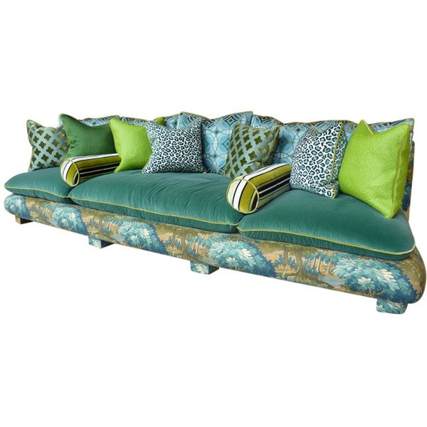 Reupholstered French 1940s Cha Cha Sofa In Verdure Fabrics