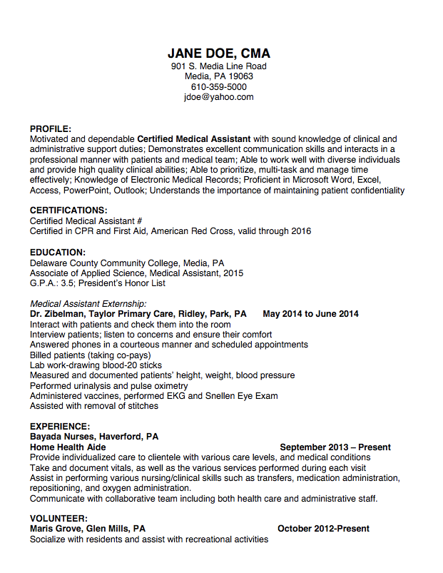 Cna Resume Template Cna Resume Sample  Httpexampleresumecvcnaresumesample