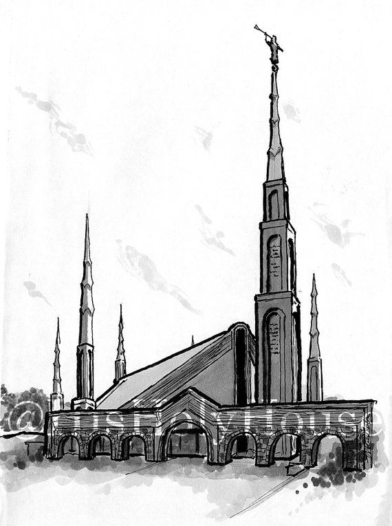 Johannesburg South Africa Temple Ink Drawing | Digital Download ...