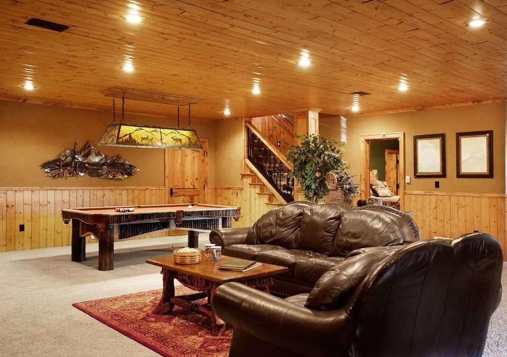 80 Man Cave Ideas That Will Blow Your Mind Photos Finishing Basement Basement Remodeling Wooden Ceilings