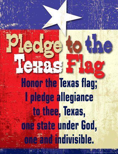 Amazon Com New Pledge To The Texas Flag Chart Office Products Office Products Texas Flags Pledge Texas History