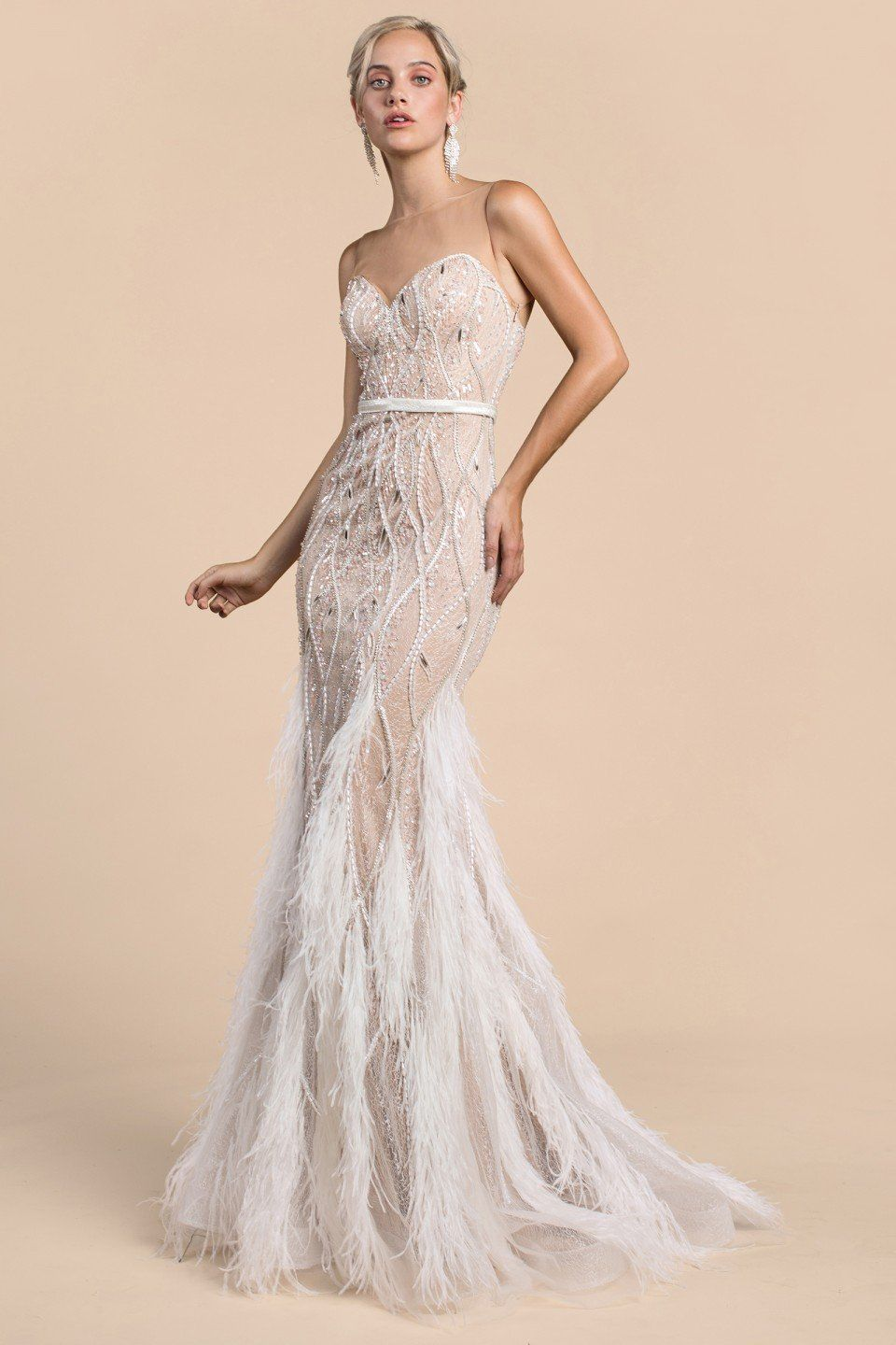 63131509705 Long embellished mermaid evening gown with sweetheart neck line and  feathers cascading down the skirt. Illusion neckline for support and can be  removed with ...