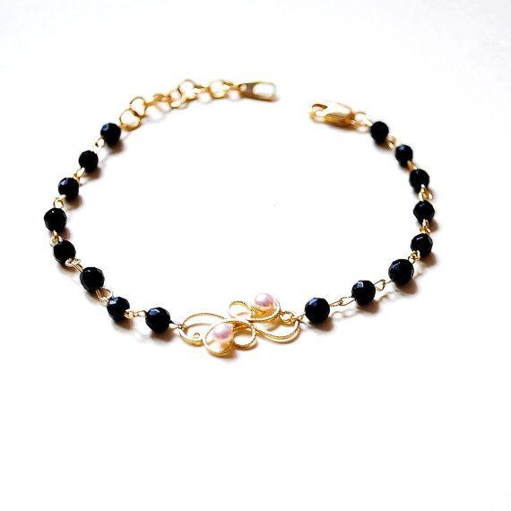 Elegant gemstone bracelet Black onix bracelet