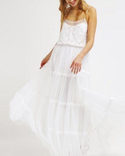 8289a53855 NAF NAF Długa sukienka biała letnia ecru