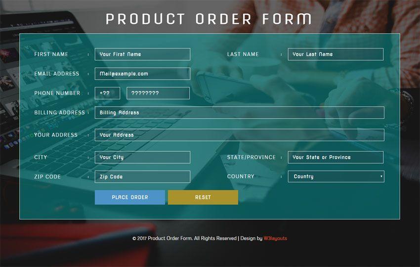 Product Order Form Flat Responsive Widget Template  Website