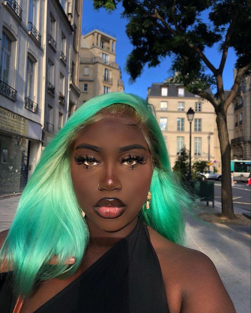 Aicha On Instagram Peppermint Hair Alibelehair Greenhair Boldhaircolor Bol Natural Hair Styles For Black Women Black Girl Natural Hair Bold Hair Color