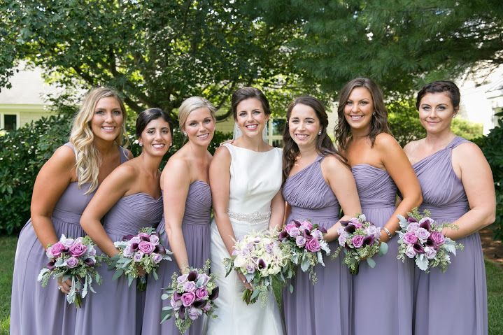Meaghan Ryans Cape Cod Wedding DonnaMorgan Bridesmaid Dresses In Grey Ridge