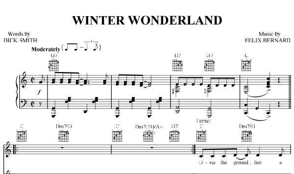 Winter Wonderland Sheet Music Christmas Sheet Music Download Winter Wonderland Piano Sheet Music Free PDF Download
