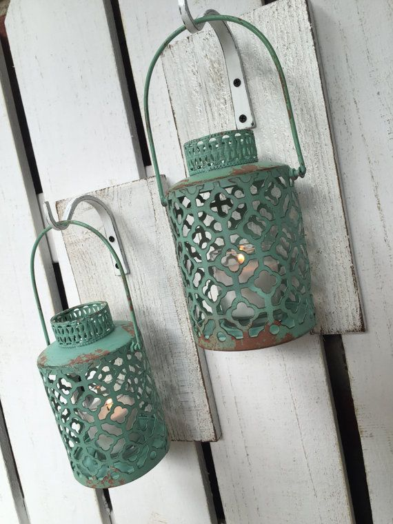 Shabby Chic Turquoise Lantern Pair 2 on a by LacyBellesBoutique